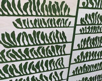 Leaf Series: Linear Leaf on Wood Panel