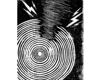 Soundwaves Relief Print