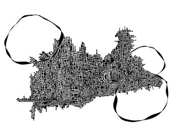 Abstract Chicago Subway Map Print