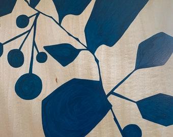 Blue Hawaii Painting on Wood Panel