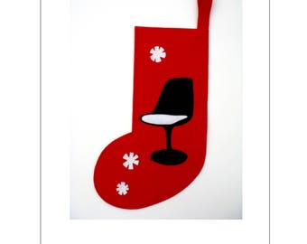 Christmas Stocking /Mid Century Modern/ Tulip Chair/ gift