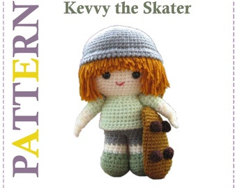 ENGLISH Instructions - Instant Download PDF Crochet Pattern Kevvy the Skater