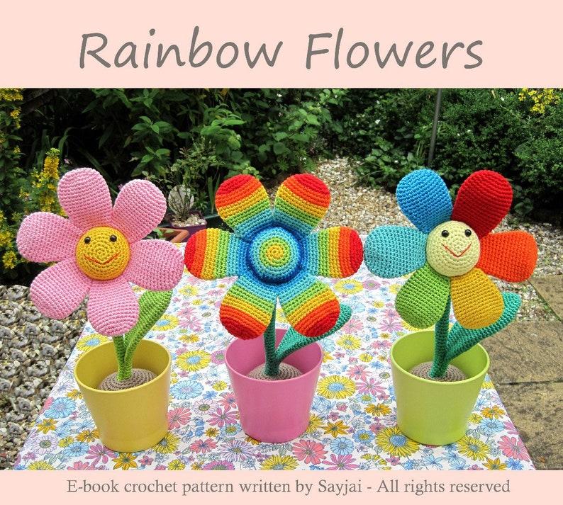 Rainbow Flowers Crochet Pattern  English and German PDF image 0