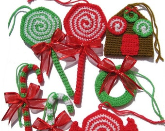 ENGLISH Instructions - Instant Download PDF Crochet Pattern Christmas Ornaments
