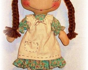 Primitive Doll PATTERN, PDF sewing Pattern, Rag Doll Pattern, Raggedy Ann, Annie