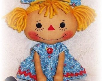 Rag Doll Pattern, PDF sewing pattern, primitive doll pattern, Rag Doll Pattern, Raggedy Ann, Annie