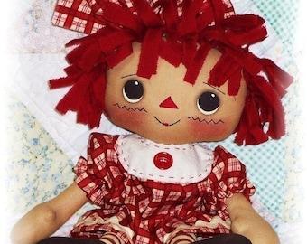 Cloth Doll PATTERN, PDF pattern, Primitive Rag Doll Pattern, Sewing Pattern, Raggedy Ann Annie Pattern, Instant Download, Digital Download