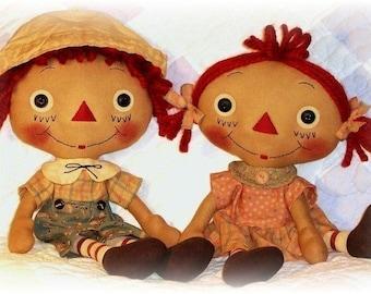 Primitive Doll Pattern, Raggedy Ann Andy Pattern, Girl or Boy Doll, Rag Doll, pattern Cloth Doll Pattern, PDF sewing pattern, Soft doll