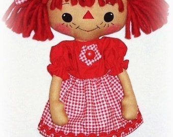 Primitive Doll Pattern, PDF sewing pattern, Raggedy Ann pattern, Annie doll, Rag Doll Pattern, Cloth Doll Pattern