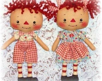Cloth Doll Pattern, Boy or Girl, PDF Sewing Pattern, Rag Doll Pattern, Raggedy Ann Andy, Primitive doll pattern, annie doll, Toy, Softie