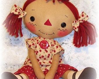 Primitive doll pattern, Raggedy Ann pattern, Cloth Doll Pattern, Rag Doll Pattern,  PDF sewing Pattern, primitive annie doll Pattern