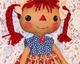Cloth Doll sewing Pattern, Rag Doll Pattern, PDF pattern, raggedy Ann, primitive doll, Annie pattern, digital download, instant download