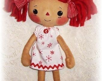 Small doll pattern, Cloth Doll Pattern, PDF sewing pattern, Rag Doll Pattern, Raggedy Ann, primitive annie doll pattern, soft doll pattern