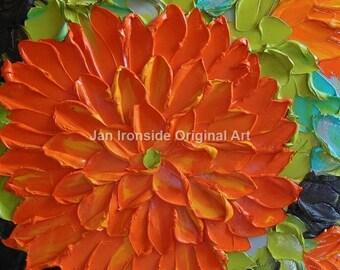 oil painting, Original Art, Painting, Oil Painting  Dahlia Impasto  Art Impressionist, art on canvas, modern art