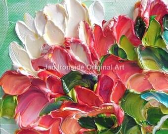 Pink painting, Impasto painting , Painting Original , art on Canvas , palette knife, peony