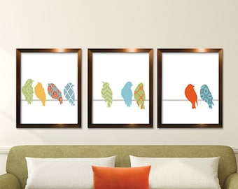 Vintage Patterned Birds on a Wire A - Set of 3 ART PRINTS (Featured in Assorted Colors) Customize your own colors