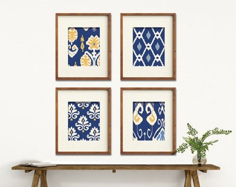 Ikat and Geometric Patterns (Series K) Set of 4 - Art Prints (Featured in Deep Blue and Sunkissed) Modern Vintage Home Decor
