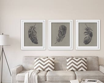 Feathers (Series B3) Set of 3 - Art Prints (Featured in River Rock on Pale Gravel Silk) Nature Woodland Inspired