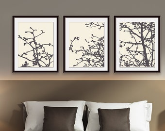 Cherry Blossom Tree Branches (Series D) Set of 3 - Art Prints (Featured in Charcoal and Soft Cream) Nature Woodland Inspired