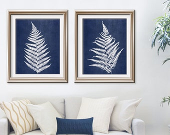 Ferns of Tuscany (Series B2) Set of 2 - Art Prints (Featured in White on China Silk) Nature Woodland Inspired