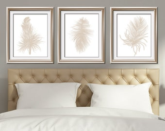 Feathers (Series C3) Set of 3 - Art Prints (Featured in French Grey on White) Nature Woodland Inspired