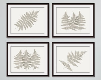 Fern Fantasy Impressions (Series D4 - horizontal) Set of 4 - Art Prints (Featured in Stone Wash On Pale China) Nature Woodland Inspired