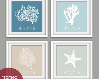 Underwater Sea Coral Collection  (Series A) Set of 4- Square Art Print (Featured in Blue Linen, Glacier Blue, French Grey and Fog Grey)