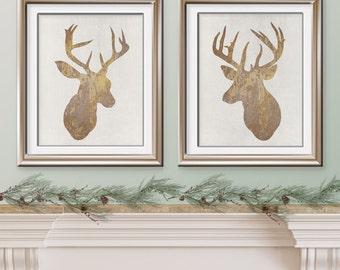 Deer Head Impressions Collection - Set of 2 Art Prints - (Featured in Golden Impression on Pale Stone Wash) Woodland Art Prints / Posters