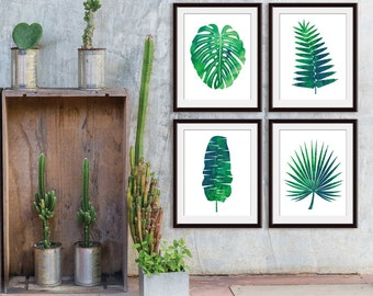Island Impressions Palm Art (Series 4A) Set of 4 - Art Prints (Tropical Palm Botanical Art Decor)
