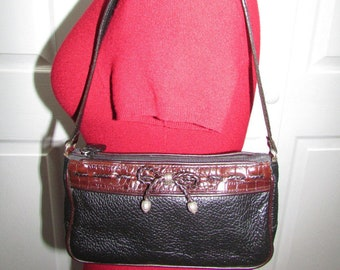 Vintage Brighton Small Black Genuine Leather Small Zip Top Satchel Tote Shoulder Purse Handbag With Bow