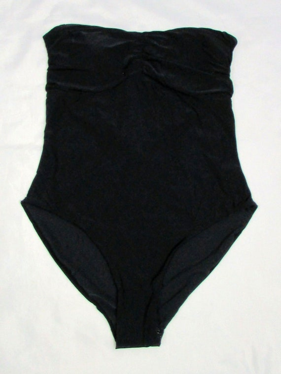 NOS Harrods Black One Piece Swimsuit, Halter Swim… - image 2