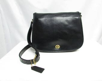 Vintage 1980s Coach Larger Size Black Leather Flap Cross Body Messenger Shoulder Purse Handbag, Coach USA