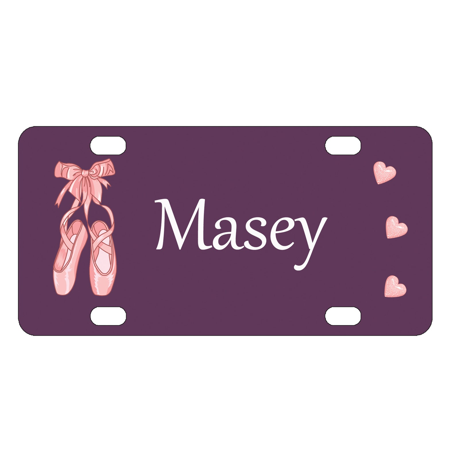 ballet slippers and hearts mini license plate-bike plate-kid's bedroom door sign