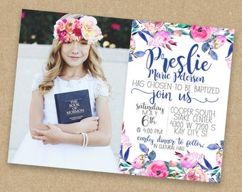 LDS Baptism Girl Invite Custom