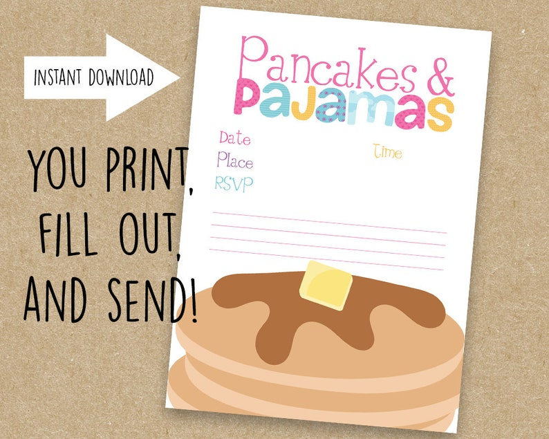 graphic relating to Printable Party Invite titled Pancakes Pajamas Get together Invite, Printable, Occasion Invite, Immediate Obtain, BLANK