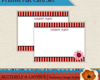 Black, Red, and White LADYBUG Girl Personalized Flat Note Card Set of 12-  PRINTED and SHIPPED