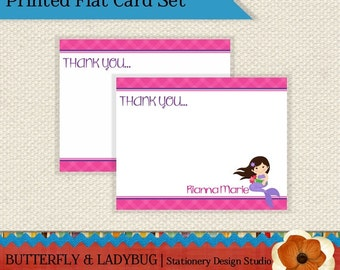Pink and Purple MERMAID Girls Personalized Flat Note Card Set of 12-  PRINTED and SHIPPED