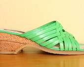 CLEARANCE Vintage Strappy 1970s Cork Wedge Sandals in Bright Green Leather - Size 8 or 8.5