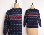 80s Hearts Sweater in Red White & Navy Blue - Womens S / M - Graphic Knit Pullover Jumper