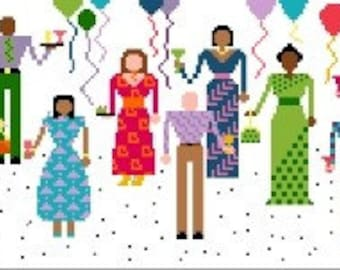 Needlepoint or Cross Stitch Pattern Design Chart - The Party - Colorful People with Confetti and Balloons