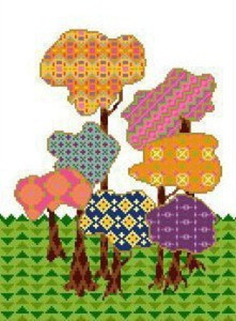 Calico Forest Cross Stitch or Needlepoint Pattern image 0
