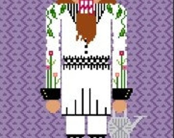 Needlepoint or Cross Stitch Pattern Design Chart - Pooka the Gardening Nutcracker - Nutcracker Brown Beard Flowers Holding Watering Can