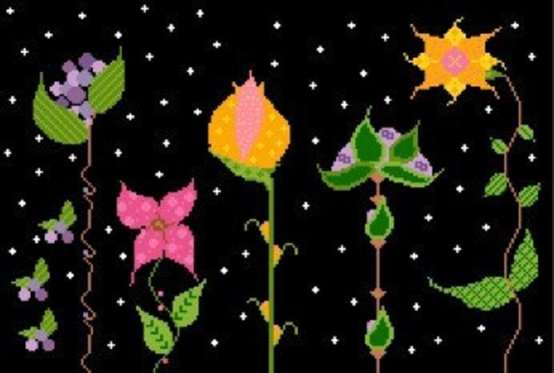 Needlepoint or Cross Stitch Pattern Design Chart  Night image 0