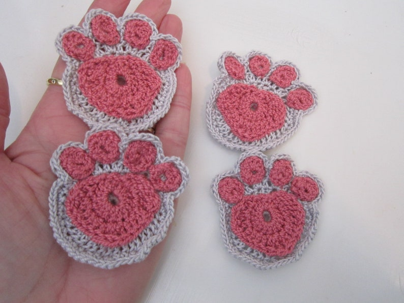 Cat Paw Appliques in grey