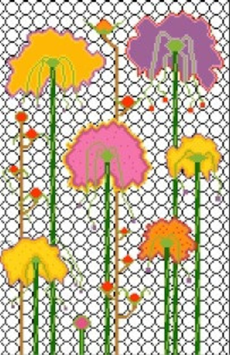 Needlepoint or Cross Stitch Pattern Design Chart  Trellis and image 0