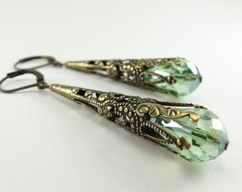Peridot Earrings Long Dangle Earrings Brass Jewelry August Birthstone