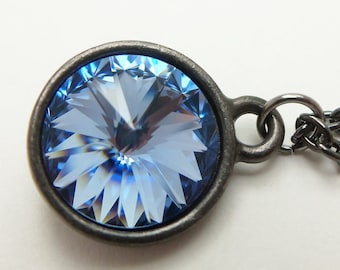 Light Sapphire Necklace, Pale Blue Dark Silver Necklace, Blue Crystal Pendant, Gunmetal