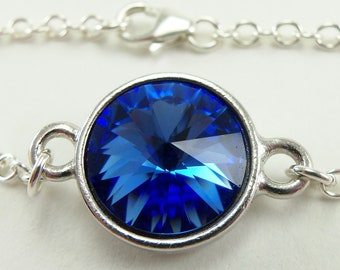 Sapphire Blue Crystal Bracelet September Birthstone Jewelry Sterling Silver Bracelet Blue Jewelry Rivoli
