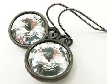 Clear Crystal Drop Earrings April Birthstone Earrings Dangle Earrings Diamond Birthstone Earrings Clear Crystal