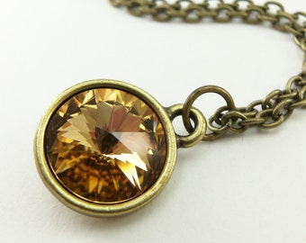 Amber Necklace Topaz Birthstone Necklace December Birthstone Topaz Crystal Necklace Brass Modern